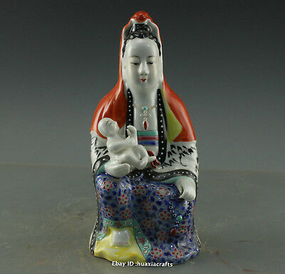 """8.4"""" Collect China Old Blue and White Porcelain pottery Boy Kwan-yin statue HBHC"""