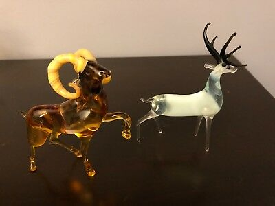 Art Glass Murano style 2 small Figurines Multicolor Ram and Deer