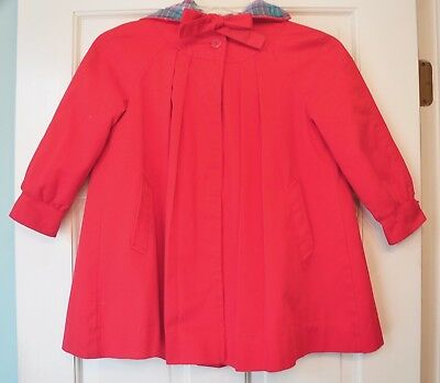 Vintage Girl's London Fog Red Hooded Swing Coat Size 5 with Pleats...Adorable!