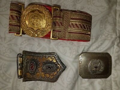 Rare Historical Antique Afghan Gold Belt and Silver Buckle