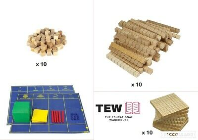 Wooden MAB Base Ten Maths Blocks 10 Hundreds 10 Tens 10 Ones + Mat Place Value