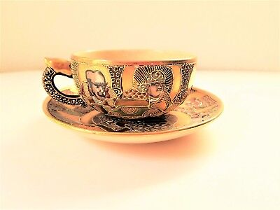 Antique Gold Satsuma Moriage Tea Cup & Saucer Porcelain Japan Marked Immortals