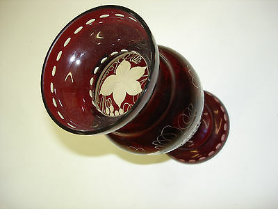Vase Vintage Bohemian Czech  Republic Egermann With Sticker 8 1/4 tall A1