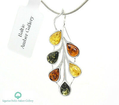 NATURAL BALTIC AMBER STERLING SILVER 925 PENDANT & CHAIN NECKLACE Certified