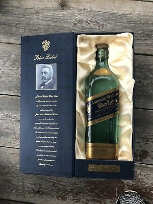 JOHNNIE WALKER BLUE LABEL EMPTY BOTTLE and BOX 750ml