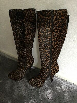 b4877f50a512 Stuart Weitzman 37.5 (7.5) OTKB Animal Print Pony Hair Stiletto Heel Boot
