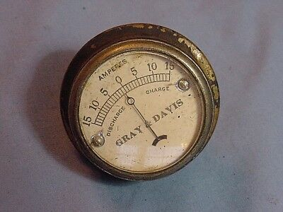 Gray & Davis Vintage Antique Brass Amp Amperes Dash Gauge Locomobile Buick