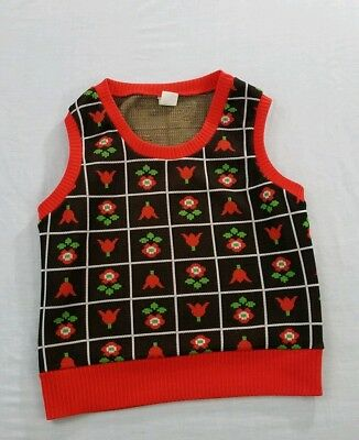 Vintage 1970s Brown Flowers Knitted Vest Size 40 Children's size 10-12
