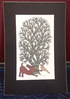 Hand Painted Gond Art Painting for Wall Décor on Handmade Paper, Tree and Animal