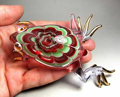 Red FROG figurine handmade blown ART GLASS amphibian  4.5 Inches - GIFT Cute