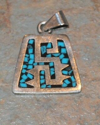 Vtg Mexico 925 Sterling Silver Turquoise Onyx Inlay Pendant