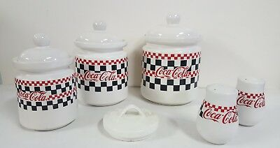 Gibson china - (3) COCA-COLA canisters w/lids & S/P shakers - checkerboard -1997