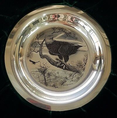 * American Bald Eagle Richard Younger Franklin Mint Sterling Silver Bird Plate