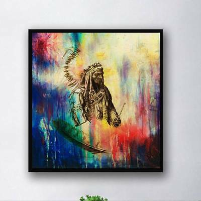 Unframed Modern Abstract Oil Painting Native Men Huge Wall Decor On Canvas