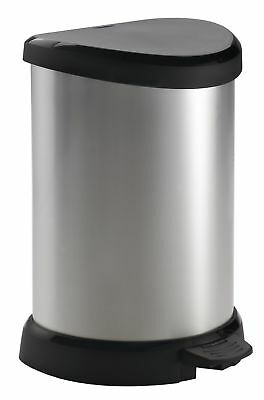 20 L Metal Effect Plastic Pedal Touch Deco Bin, Silver