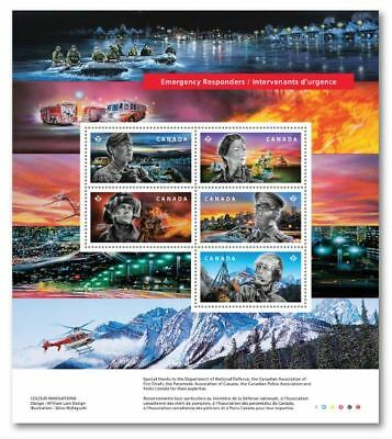 New Release 2018 CANADA ~ EMERGENCY RESPONDERS SOUVENIR SHEET ~ 5 Stamps