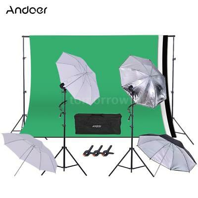 Andoer Photo Studio Photography Lighting Stand Kit Umbrella Softbox Backdrop Set
