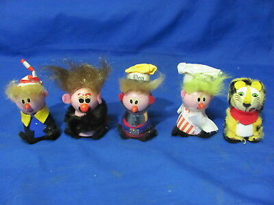 Vintage Kelloggs Little People 1972 Snap, Crackle, Pop, Tony and Cave Man
