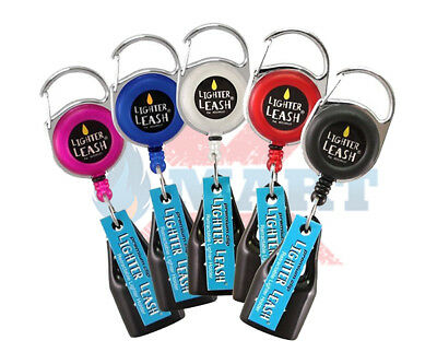5x PREMIUM LIGHTER LEASH METAL PULL OUT CLIP RETRACTABLE - ASSORTED COLORS