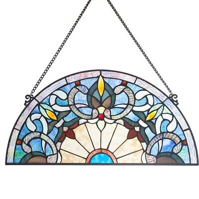 Victorian Corista Half Moon Arch Tiffany Style Stained Glass Window Panel Blue