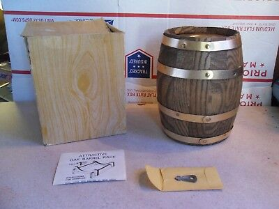 """Vintage Large Heavy Wood Barrel Coin Bank w/ Key 6""""X 3 3/4"""" SECURITY BANK"""