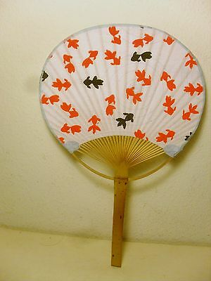 Handcrafted Japan Bamboo Fan, Gold Fish Design