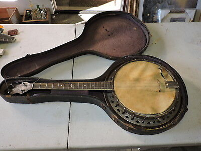 Antique Conqueror Four String Short Banjo w/ Case & w/ Resonator, (VBX)