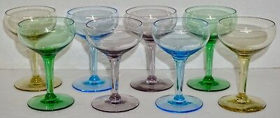 Vintage Set of 8 Multicolor Crystal Cordial Glasses Coupe Sparkling Wine EUC