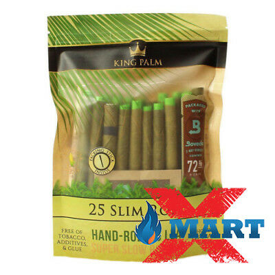 King Palm Slim Rolls Leaf Organic - 1 PACK - 25 Per Pack Filter + 72% Boveda