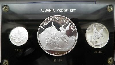 Albania 1968 Silver Proof 3 Coin set in Custom Holder