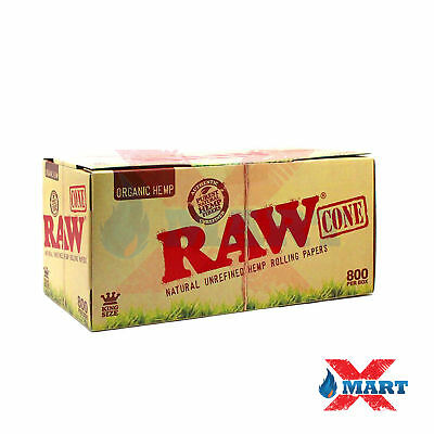 500 Pack - RAW Organic Hemp KING Cones Authentic Pre-Rolled Cones w/ Filter