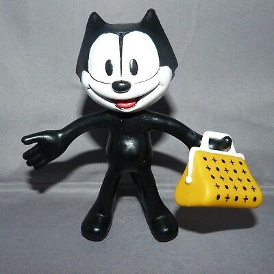 "Vintage Felix The Cat 5"" & Bag Of Tricks Rubber Figure Bendable Toy"