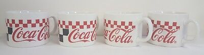 Gibson china -(4) COCA-COLA large identical mugs -checkerboard -1997 -excellent