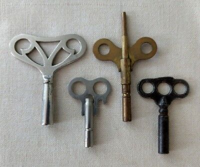 Lot of 4 Assorted Vintage Clock Winding Keys Inc 1 Brass All w/ Square Holes