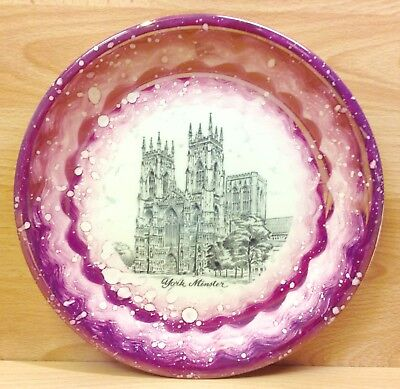 """Gray's Pottery Pink Lustre Ware """"York Minster"""" Display Plate Plate."""