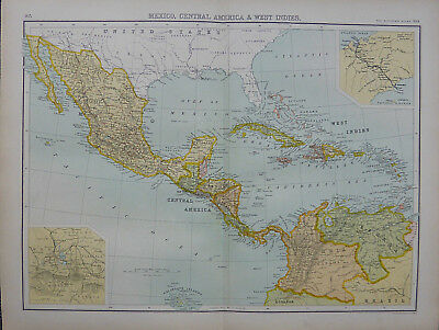A 1898 Victorian map of Mexico & the West Indies by John Bartholomew