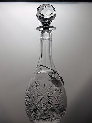 """""""edgbaston Old Church""""  Etched Crystal Cut Glass Wine Decanter  - 13"""" Tall"""