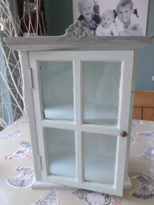 Country wood white painted corner display cupboard Emma Bridgewater glass front