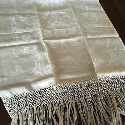 "ANTIQUE VINTAGE 26""x70"" FRINGED DAMASK DISPLAY SHOW TOWEL PIANO SHAWL IVORY"