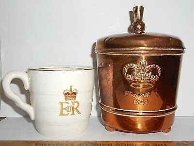 old Copper TEA Caddy 'PURITY TIPS' 1953 Coronation QE2. *Tea CUP & 2 extras Vgc