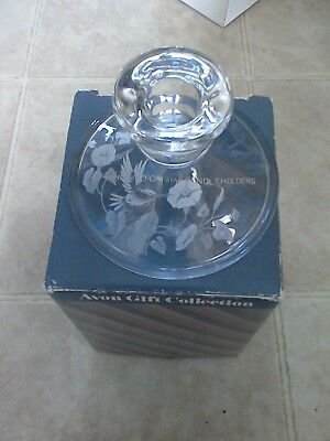 Avon etched HUMMINGBIRD Candle Holders 24% Full Lead Crystal Candlestick