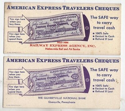 TWO Vintage INK BLOTTERS  American Express RAILWAY EXPRESS & QUARRYVILLE BANK