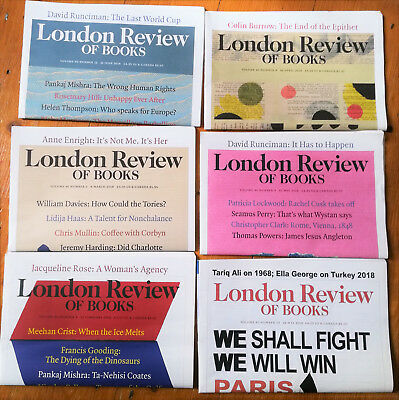 London Review of Books, lot of 6 issues from 2018, vol 40 numbers 4 5 8 9 10 12