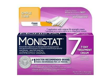 Monistat 7 Simple Cure 7-Day Vaginal Anti-fungal Treatment Cream 1.59oz FAST AB6