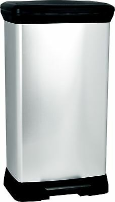 50 L Metal Effect Plastic Pedal Touch Deco Bin, Silver