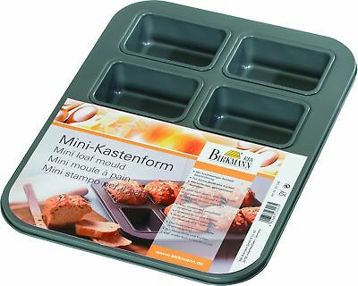 Mini Loaf Mould with 8 Moulds, Metal, Grey
