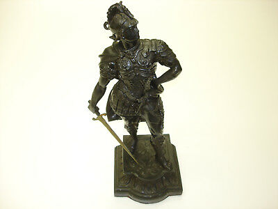 1 Pcs Antique Cast Iron Statue Old Soldiers Standing Ready To Fight Beautiful #3