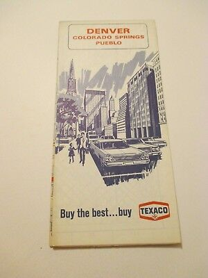 Vintage 1968 TEXACO Colorado Springs Pueblo CO Oil Gas Service Station Road Map