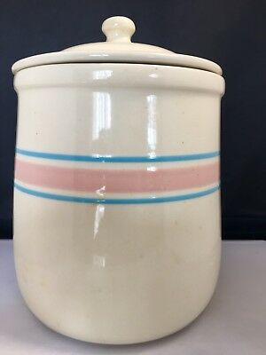 Mc Coy Blue and Pink Stripe Canister/Cookie Jar 133