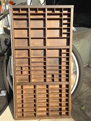"""Vintage Antique Printers Tray / Cabinet Drawer, Wood, 32"""" x 16.5"""" x 1.5"""""""